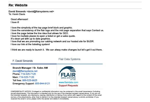 Flair Data Website Testimonial