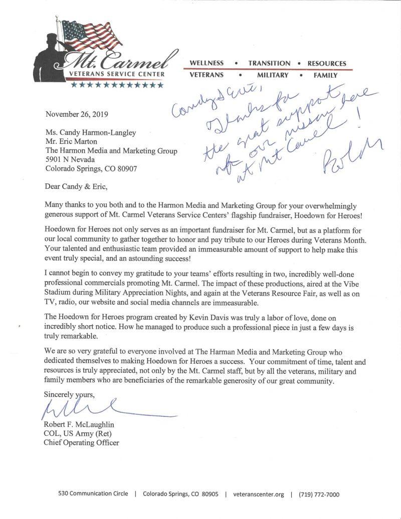 Mt Carmel Appreciation Letter